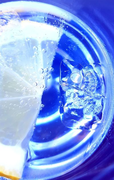 Lemon Glass Icecube Drink Blue Drinking Glass Close-up Tonic Water GIN Ice Cube Cold Drink