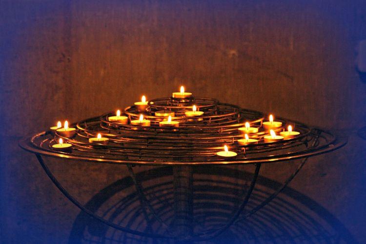 Burning Candle Church Candles Glowing Illuminated Light No People Paris