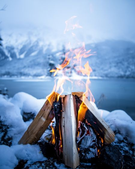 Winter Wonderland Alps Fire Campfire Snow Lake Gernany Real People Day Close-up