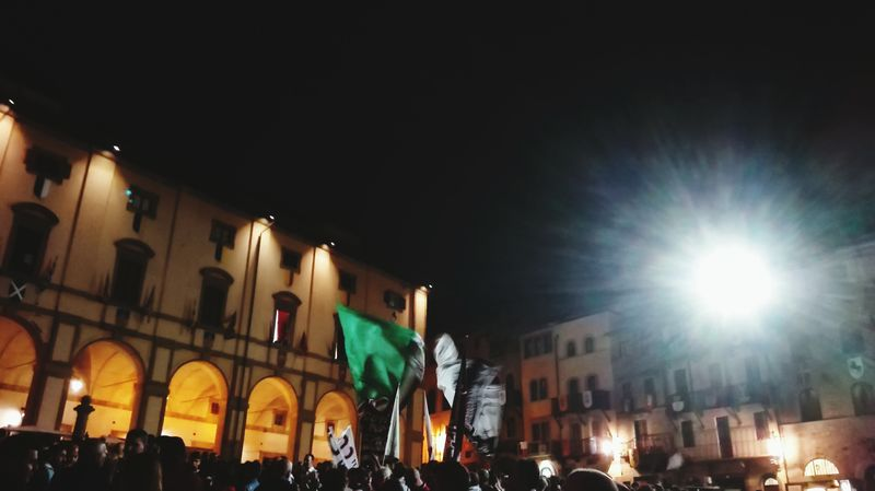 Ultras Big Flag Arezzo City Crowd Illuminated Nightlife Arts Culture And Entertainment Architecture Sky Building Exterior Built Structure City Gate Old Town Neo-classical