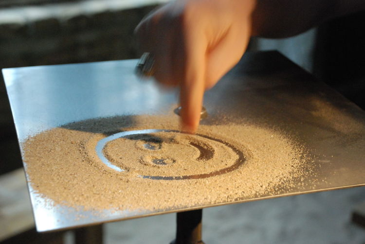 Cropped image of hand making smiley face with sand on table