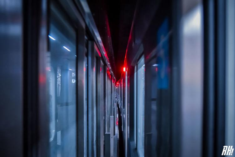 Close-up of illuminated glass window at night