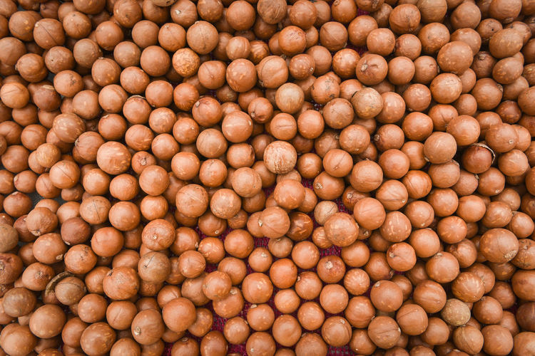Full frame shot of nuts for sale in market