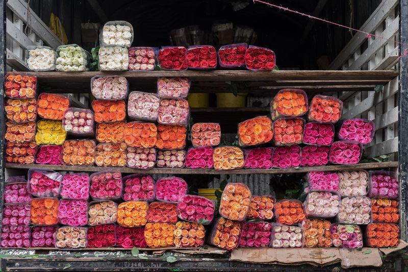 Flower market at Paloquemao in Bogota, Colombia Bogotá, Colombia Bogotá Colombia Red Roses Wholesale Market Arrangement Market Multi Colored Pink Roses Roses Roses🌹