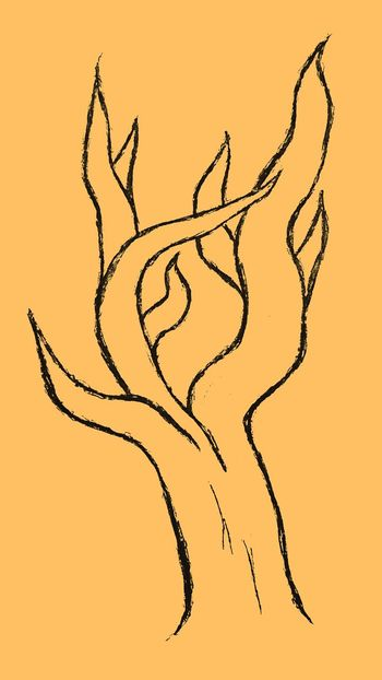 Drawn, then edited Tree Orange EyeEm Selects Ink Painted Image Silhouette Gold Colored Arts Culture And Entertainment Abstract Sketch Drawn Drawing Drawing - Art Product Pencil Drawing
