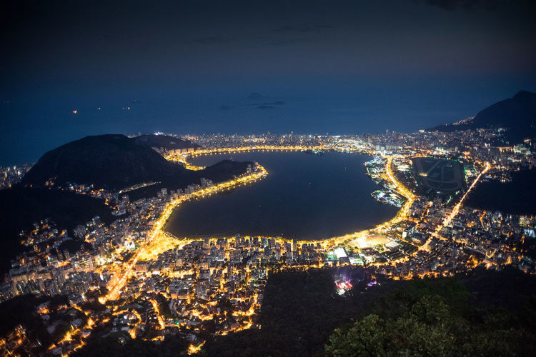 Rio De Janeiro Night Building Exterior Nature Illuminated Architecture Cityscape City Aerial View Sky Water No People Built Structure Outdoors Travel Destinations Sea Land High Angle View Building Residential District Brasil Brasil ♥ Brasília