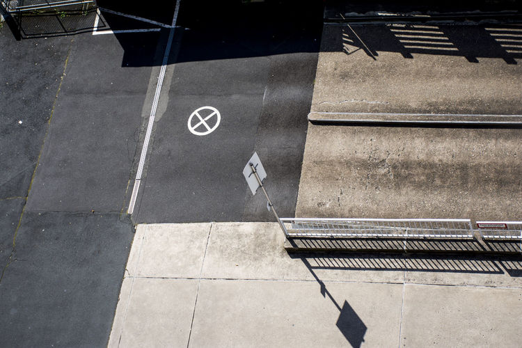 High angle view of road sign