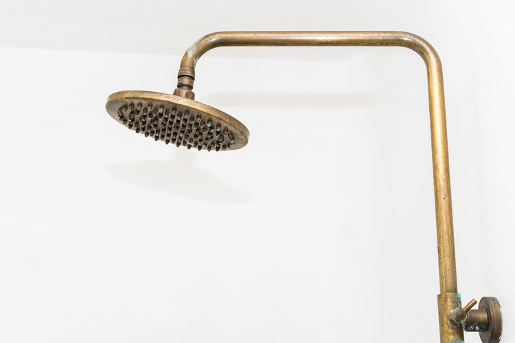 Bathroom Close-up Copy Space Cut Out Design Equipment Faucet Handle Hygiene Indoors  Metal No People Shower Shower Head Silver Colored Single Object Still Life Studio Shot Wall - Building Feature White Background White Color