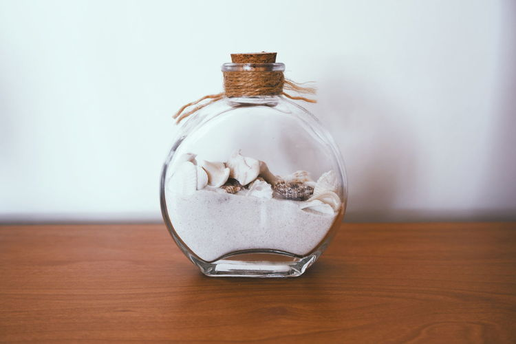 Summer in the bottle White Background Glass Glass - Material Simplicity Nature Sand Sand In A Bottle Shell Shells🐚 Summer Still Life Home Decoration  Fishbowl Bottle Single Object Close-up Cork - Stopper My Best Photo