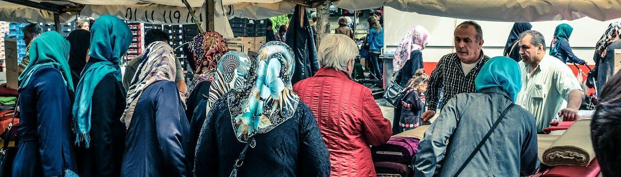 Headscarf Market Street Going To Market Market Muslim Woman Muslimahfashion Fabric Fabric Shop Market Colors The Photojournalist - 2015 EyeEm Awards