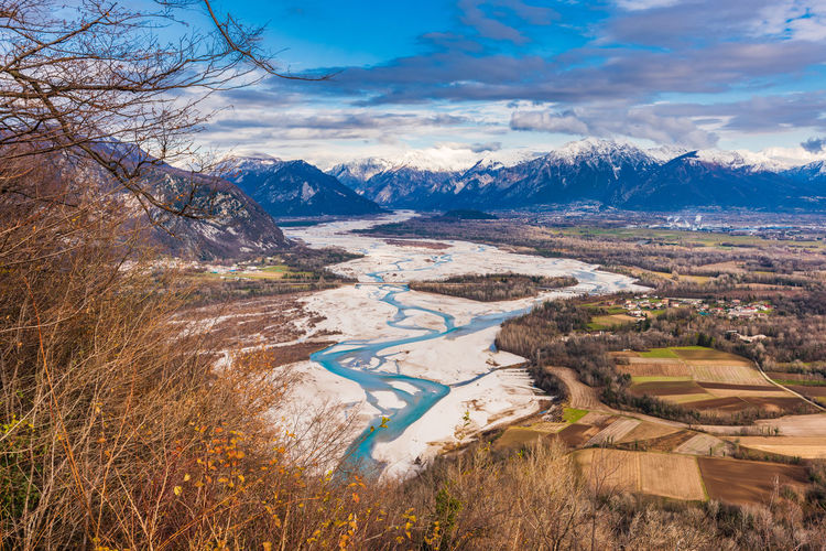 The meanders of the tagliamento. last natural river of europe. friuli. italy