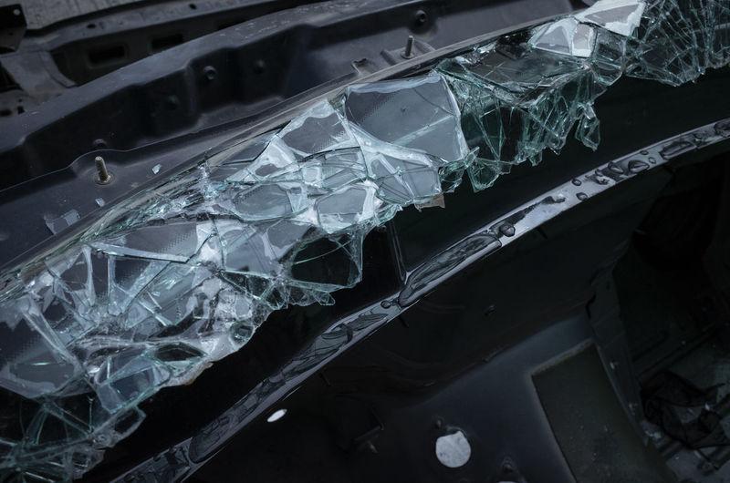 High angle view of broken glass