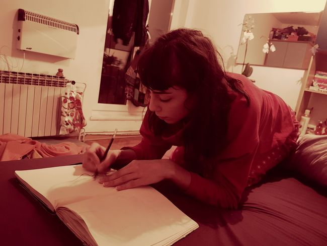 Indoors  One Person Adult One Woman Only Only Women People Young Adult Art Studio Drawing ✏ Art Beauty People Photography Bedroom Cosy Pjamas Indoors  Women Sketching Sletchbook Be. Ready.