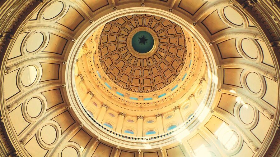 Look up. Circle Architecture Pattern Close-up Concentric No PeopleFamily Star Ceiling View Up Capitol State Texas Austin Historic Adventure Travel Downtown Building Life Building Exterior Dome Day Astrology Sign