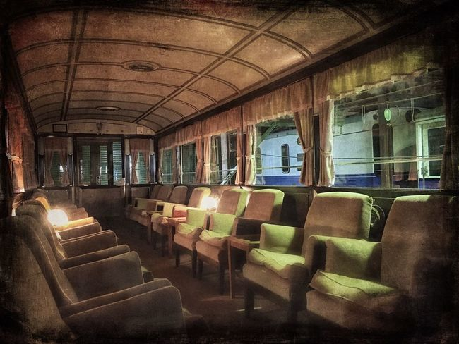 Public Transport Ferrocarril Train Seat Window Indoors  No People Absence Auto Post Production Filter Wagon  Railway Mystery