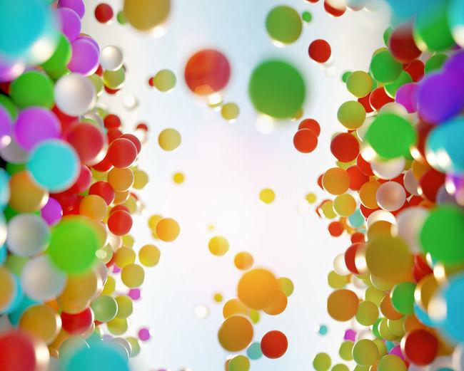 Polystyrene balls against sky