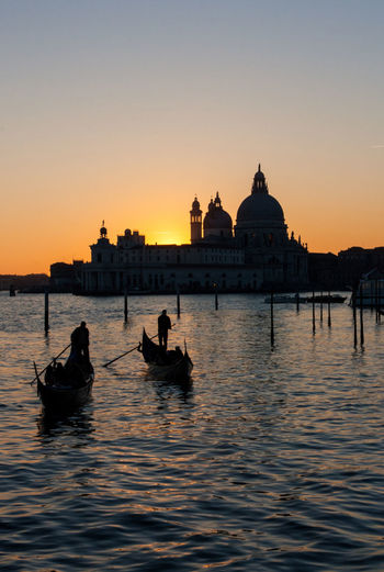 Architecture Boat Clear Sky Italy Sea Sunset Tranquility Venice Water Waterfront