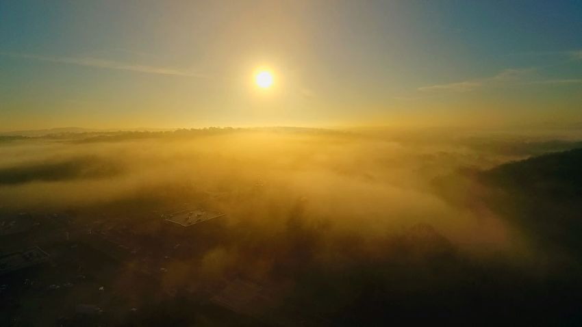 Drone shot above the fog Nature Scenics Beauty In Nature Tranquil Scene Tranquility Landscape Sun Sky Sunset Outdoors No People Cold Temperature Day Airplane Wing