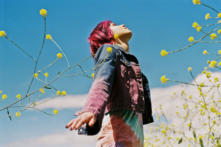 Spring Sprung 35mm Analogue Photography Blue Capetown Clear Sky Dyed Hair Film Filmisnotdead Leisure Activity Low Angle View Model Nature One Person Outdoor Outdoor Photography Outdoors Pink Pink Hair Real People Sky Spring The Street Photographer - 2017 EyeEm Awards Tiedye Young Women Analogue Sound