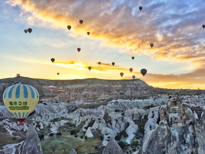 Turkey Valley Sunrise Lava Rocks Balloons Scenery Beautiful