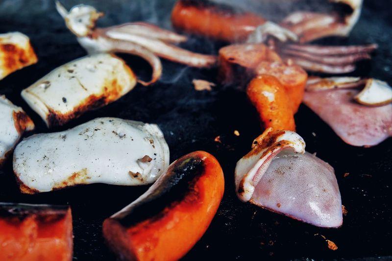 バーベキュー BBQ ウインナー と イカ Wiener and Squid