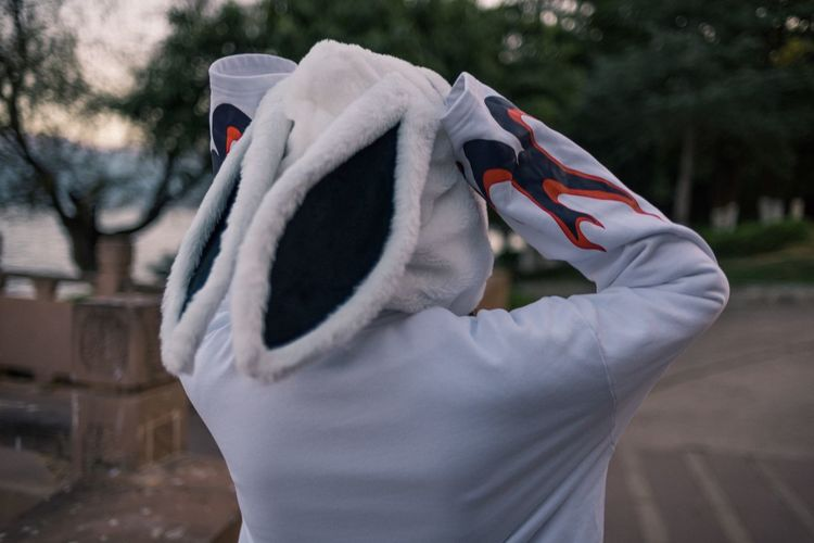Rear view of person wearing rabbit mask