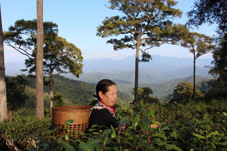 Woman on mountain against sky