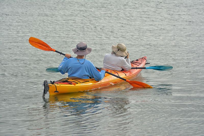 Rear view of people kayaking in sea
