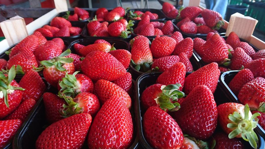 Close-up of strawberries for sale in shop