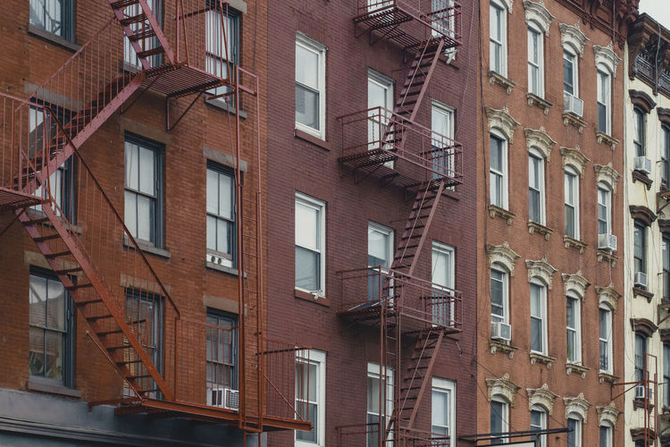 NYC Apartment Architecture Building Exterior Built Structure Day Fire Escape Low Angle View No People Outdoors Residential Building Safety Steps And Staircases Urgency Window