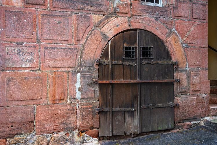 Wall Architecture Building Exterior Built Structure Brick Arch Door Brick Wall Entrance Old No People Day Wall - Building Feature Closed Weathered Building Window Outdoors Safety Metal Arched Alte Pforte Holztor Mauer Sandstein