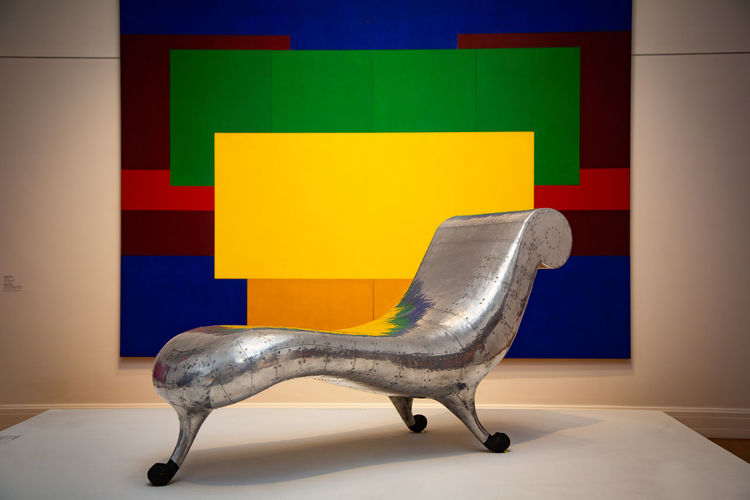 Indoors  Yellow Chair Seat Wall - Building Feature Multi Colored No People Furniture Creativity Office Absence Flooring Art And Craft Domestic Room Copy Space Corporate Business Table Office Chair Home Interior Empty Museum Of Modern Art