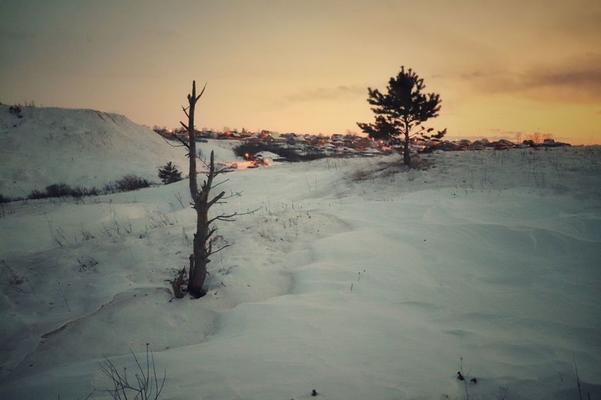 The Ural Outback Canon Sl2 200D 1855mm Outback Cold Snow Night Urals Russia Village Rural Mountains Snapseed Tree Sunset Cold Temperature Bare Tree Winter Rural Scene Mountain Sky Snow Covered Deep Snow Snowcapped