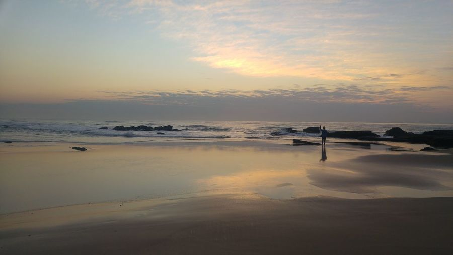 sunrise with a cup of cofee... South Africa Peace And Quiet Peaceful Nature Sunrise Sunrise Silhouette Women Quite Moments Me Time ♥ Beginnings New Day Water Sea Low Tide Salt - Mineral Beach Sand Summer Reflection Romantic Sky Tide Seascape Reflection Lake Coast Coastline