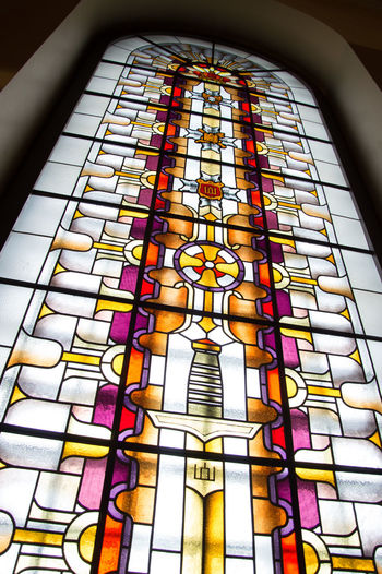 Architecture Built Structure Day Indoors  Low Angle View Multi Colored No People Place Of Worship Stained Glass Window