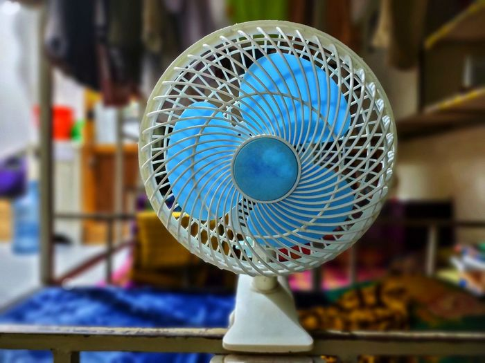 Close-up of electric fan in market