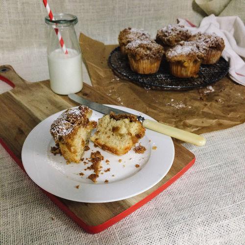 Muffins Baking Food Still Life Milk Morning Tea Homemade