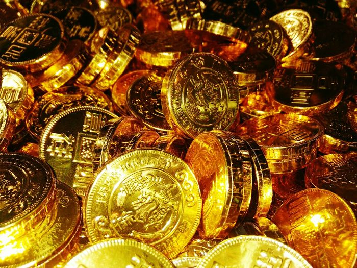 Full frame shot of chocolate coins