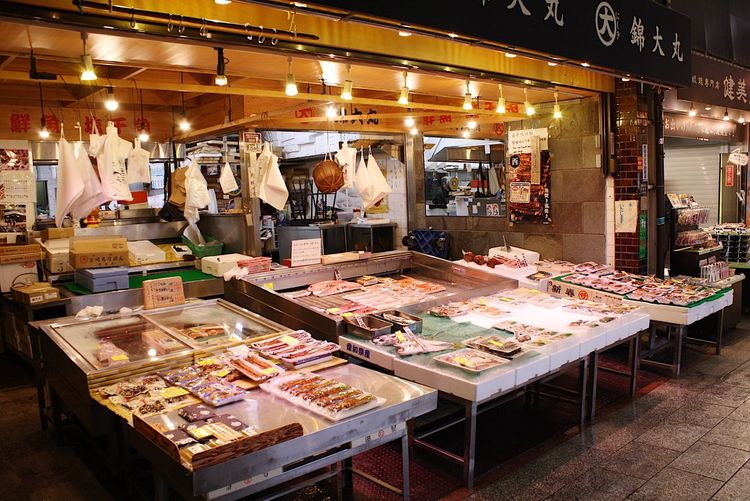 View of market stall at night