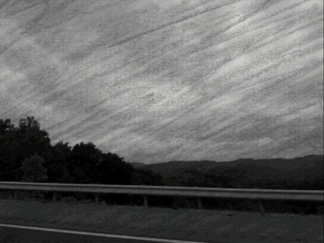 Road Trip Kentucky  Georgia Via Michigan Interstate Hillside Landscape Camera Effects Scribble Black And White