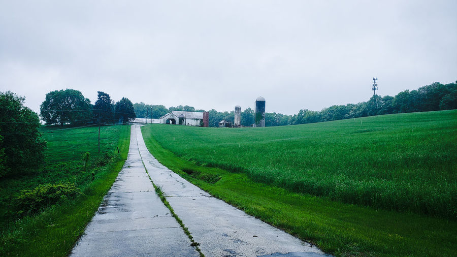 That's a long driveway! Road Driveway Farm Tree Rural Scene Water Single Lane Road Sky Grass Landscape Cloud - Sky Lush - Description vanishing point Empty Road Country Road Rainy Season The Way Forward Diminishing Perspective Countryside