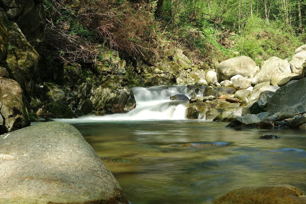 water, rock, solid, rock - object, motion, flowing water, long exposure, beauty in nature, blurred motion, scenics - nature, forest, river, waterfall, nature, flowing, no people, environment, land, tree, stream - flowing water, outdoors, purity, running water, power in nature, rainforest, falling water