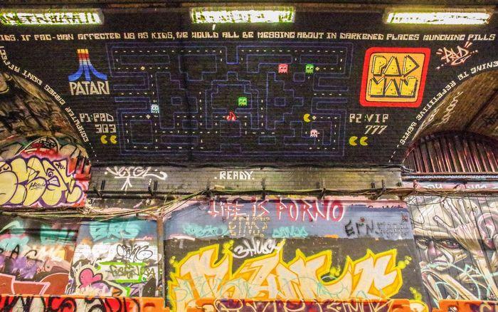Leake Street - January 2017 Pacman Leake St London Wall Art Graffiti Text Day Close-up
