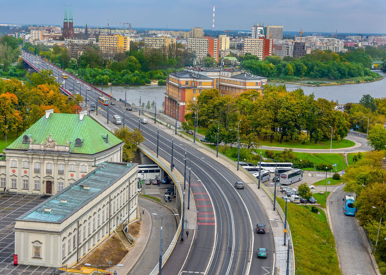 View of Warsaw. Poland Vistula River Warsaw Warszawa  Wisła River Architecture Building Exterior Built Structure City Cityscape High Angle View Road Transportation