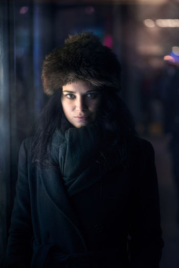 In my Blade Runner series, I'm having fun adding lens flare, smoke and I'm post-processing the photos to make them look like a sci-fi movie Beautiful Girl Pretty Woman The Portraitist - 2017 EyeEm Awards The Week On EyeEm Beautiful Woman Focus On Foreground Looking At Camera Night One Person Portrait Pretty Girl Warm Clothing Young Adult