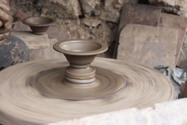 Creation.... Clay Close-up Craft Focus On Foreground Motion Pot Potters Wheel Pottery Solid Spinning Working