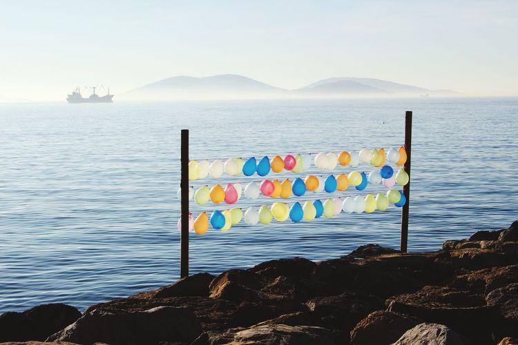Air baloons on coast Istanbul Turkey Princess Island Showcase: February Kartal Sea_collection Wintertime Seaside Boats