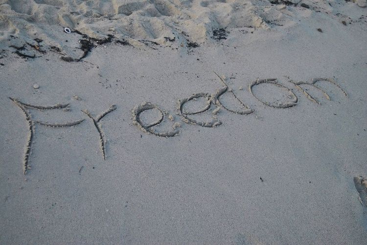 High angle view of text on sand at beach
