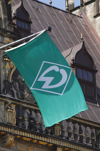 Flag of Werder Bremen, Germany, europe Architecture Building Exterior Built Structure City Communication Day Flame No People Outdoors Sky Text Travel Destinations Werder