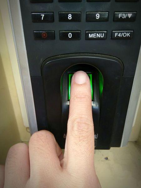 Human Hand Indoors  Finger Finger Print Finger Scanner Scan Index Finger Time Door Fingerprints Timmer Working Time